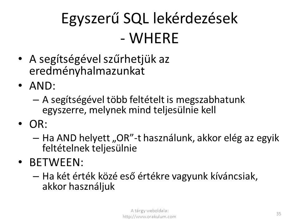 Egyszerű SQL lekérdezések - WHERE
