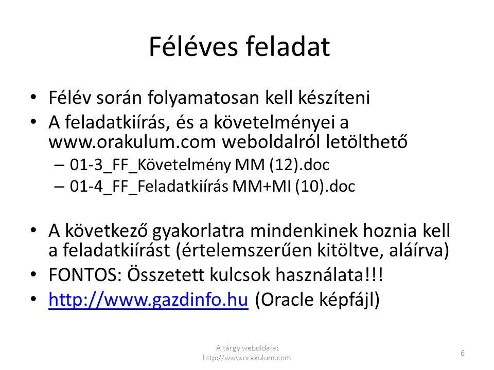A tárgy weboldala: http://www.orakulum.com