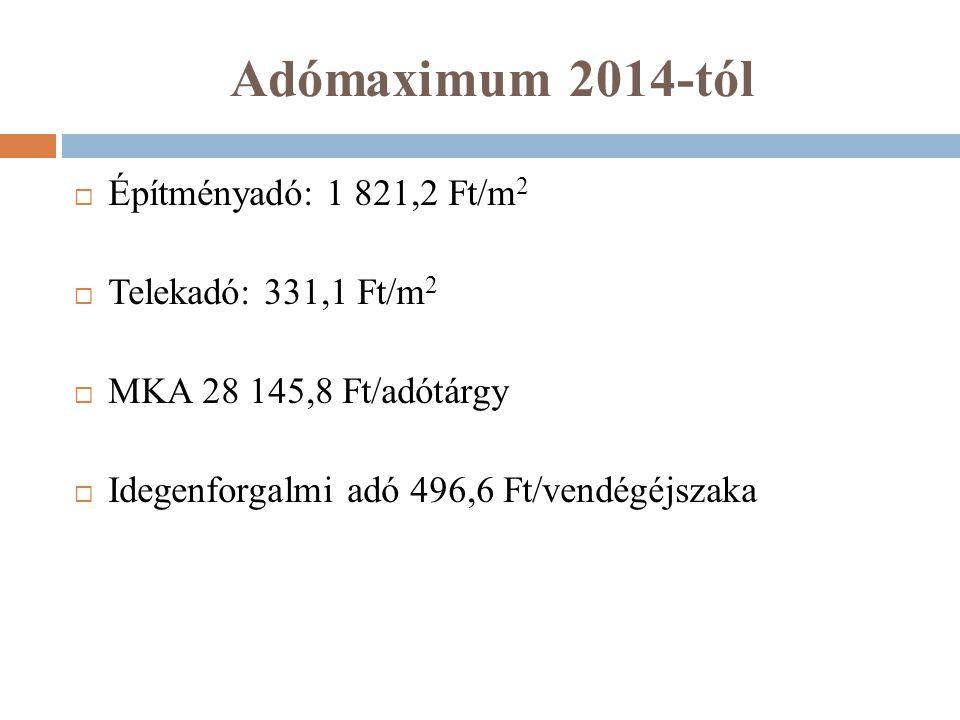 Adómaximum 2014-tól Építményadó: 1 821,2 Ft/m2 Telekadó: 331,1 Ft/m2