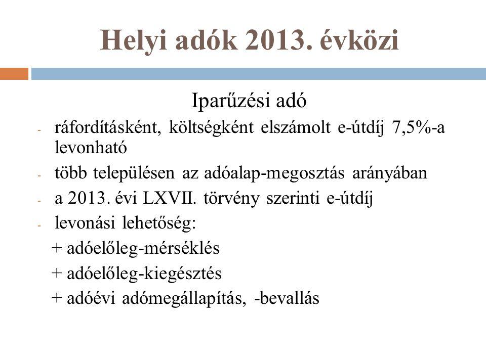 Helyi adók 2013. évközi Iparűzési adó