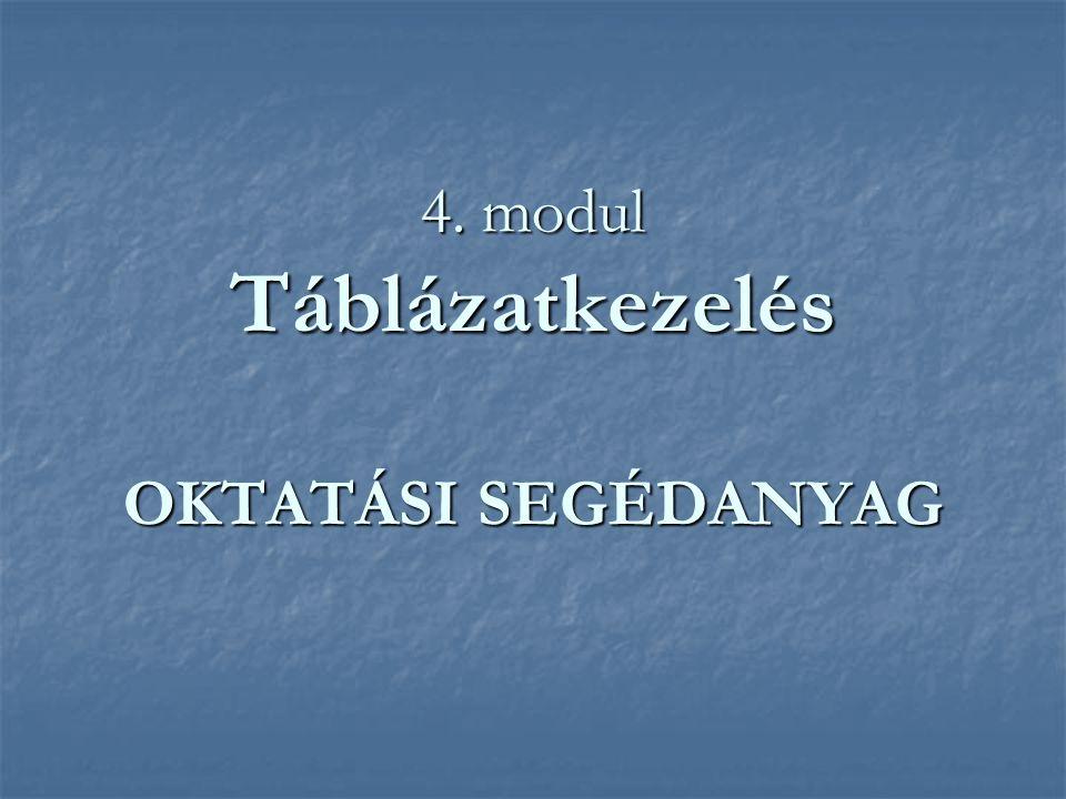 4. modul Táblázatkezelés OKTATÁSI SEGÉDANYAG