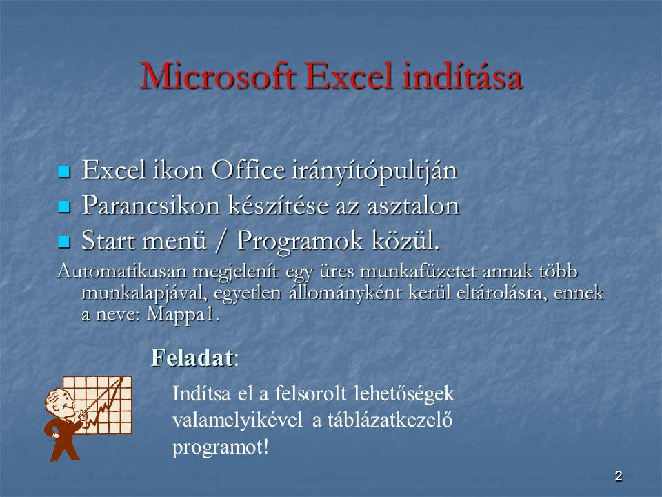 Microsoft Excel indítása
