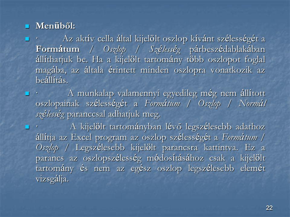 Menüből: