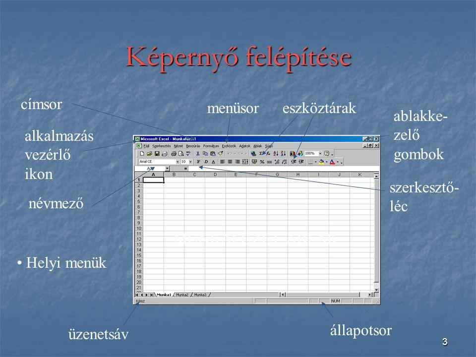 Képernyő felépítése címsor menüsor eszköztárak ablakke-zelő gombok
