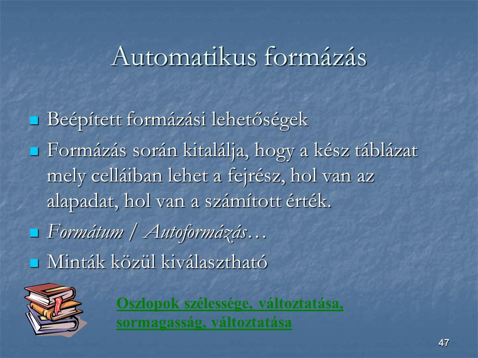 Automatikus formázás Beépített formázási lehetőségek