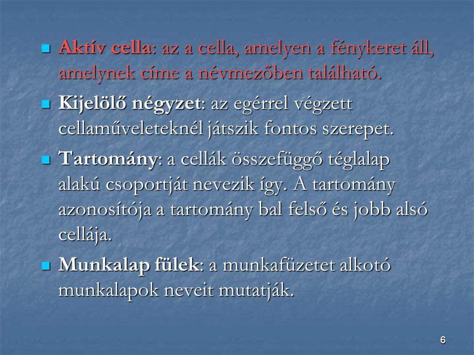 Aktív cella: az a cella, amelyen a fénykeret áll, amelynek címe a névmezőben található.