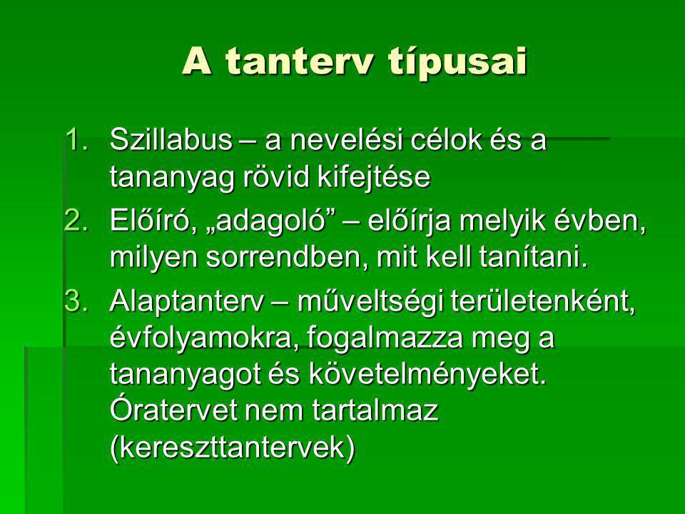 A tanterv típusai Szillabus – a nevelési célok és a tananyag rövid kifejtése.