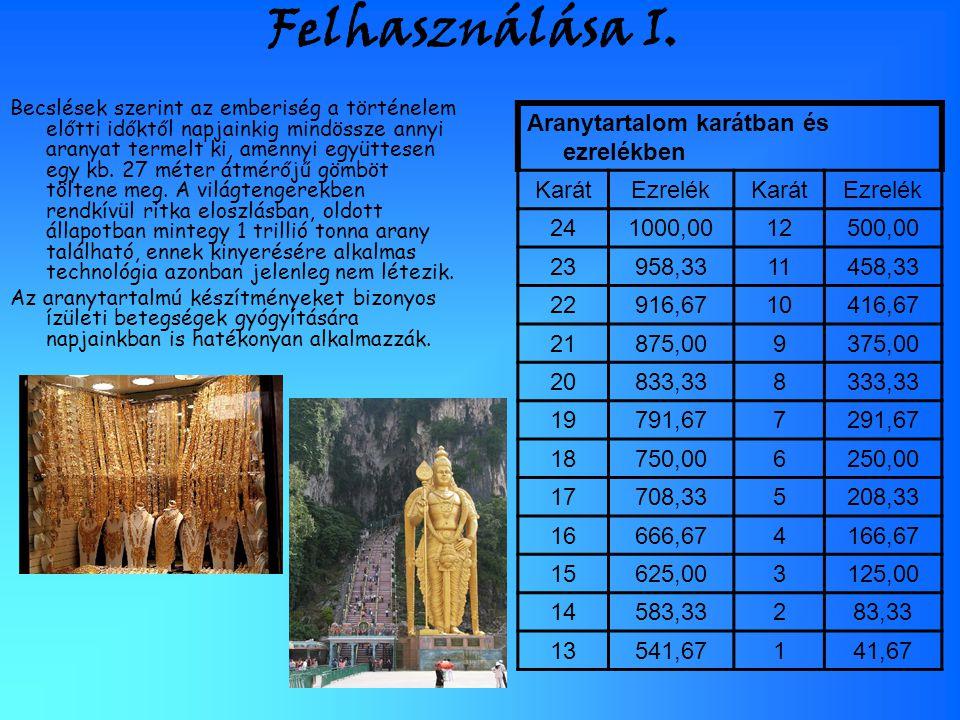 Felhasználása I. Aranytartalom karátban és ezrelékben Karát Ezrelék 24