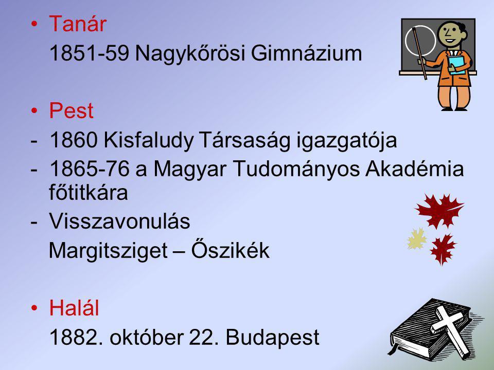 Tanár 1851-59 Nagykőrösi Gimnázium. Pest. 1860 Kisfaludy Társaság igazgatója. 1865-76 a Magyar Tudományos Akadémia főtitkára.