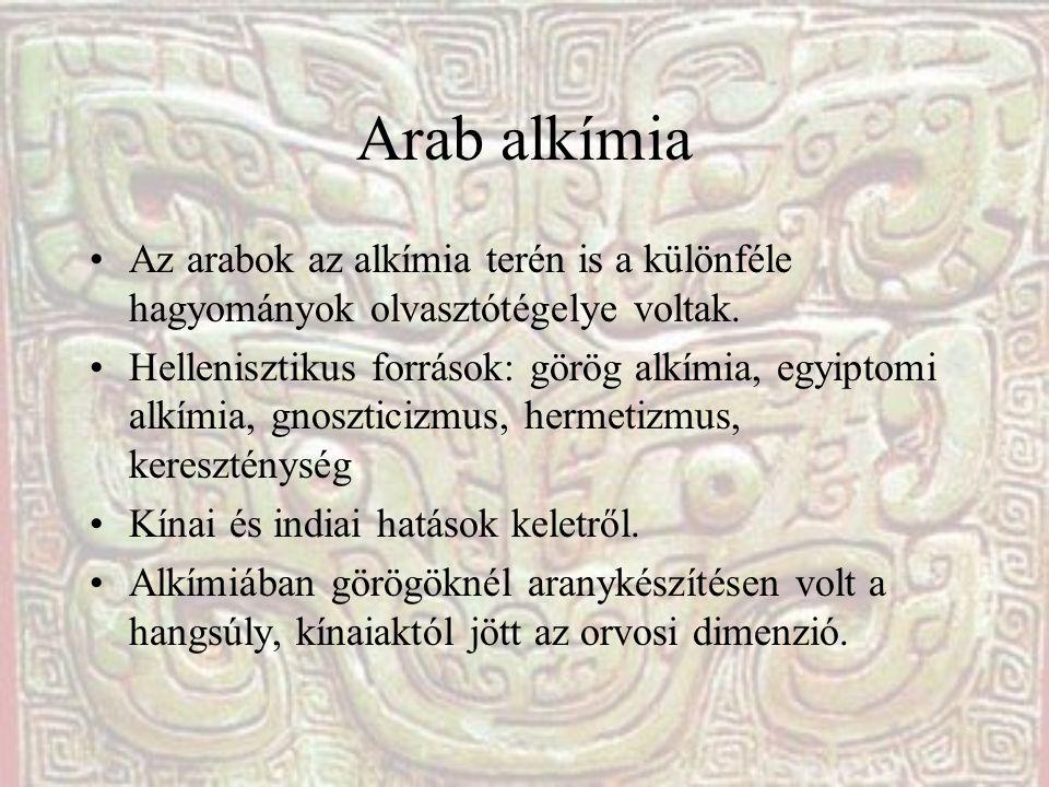 Arab alkímia Az arabok az alkímia terén is a különféle hagyományok olvasztótégelye voltak.