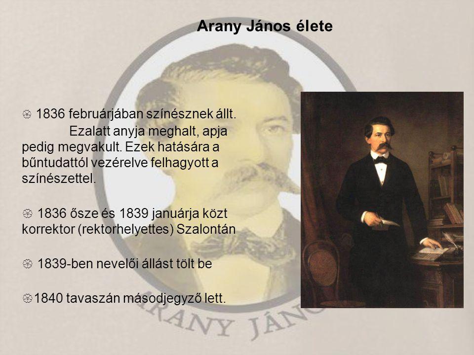 Arany János élete  1836 februárjában színésznek állt.