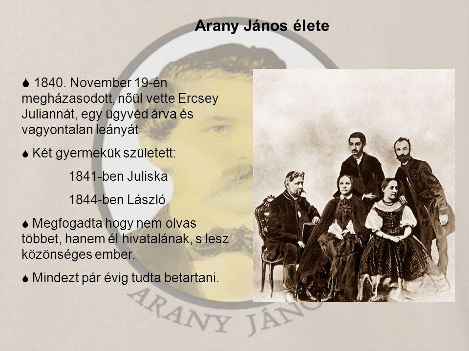 Arany János élete  1840. November 19-én megházasodott, nőül vette Ercsey Juliannát, egy ügyvéd árva és vagyontalan leányát.