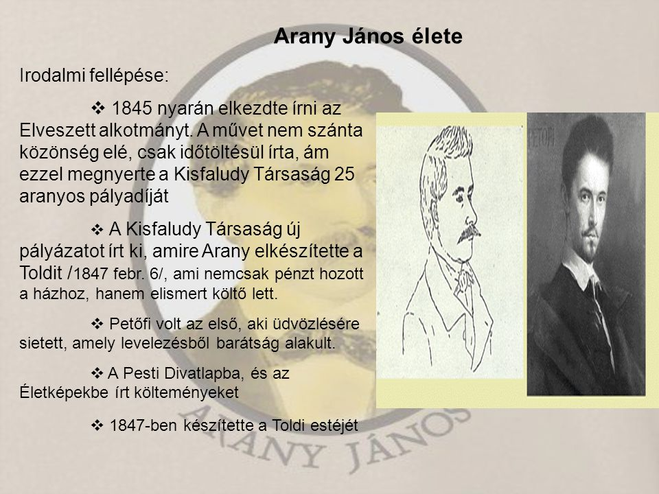 Arany János élete Irodalmi fellépése:
