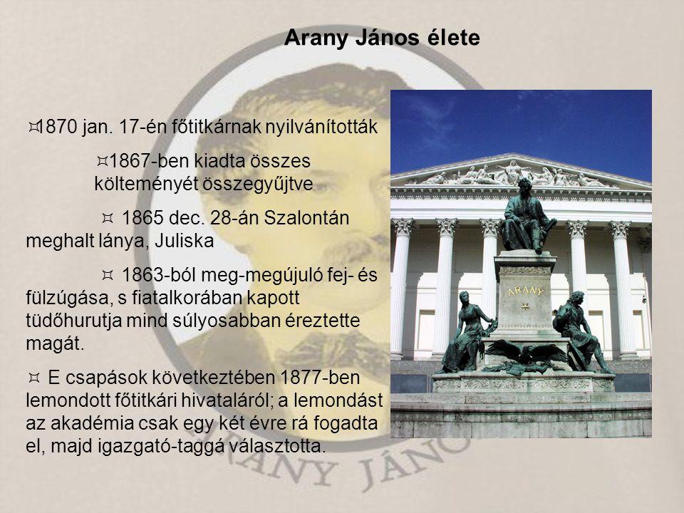 Arany János élete 1870 jan. 17-én főtitkárnak nyilvánították