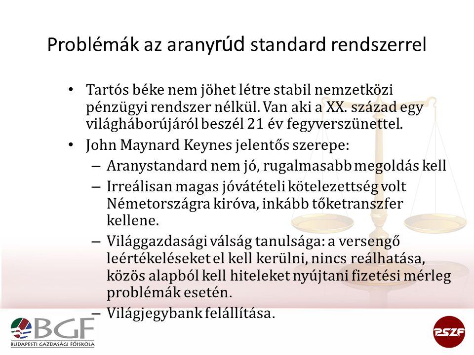 Problémák az aranyrúd standard rendszerrel