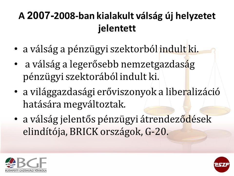 A 2007-2008-ban kialakult válság új helyzetet jelentett