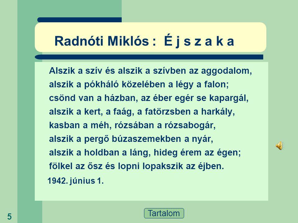 Radnóti Miklós : É j s z a k a