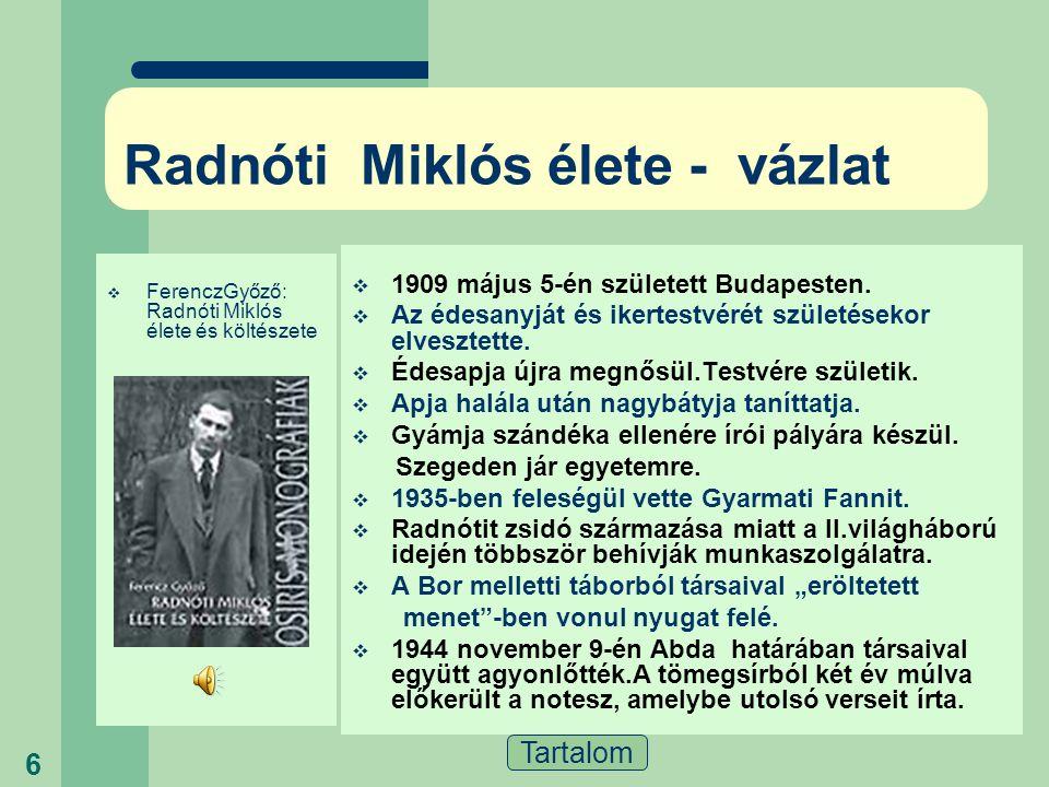 Radnóti Miklós élete - vázlat