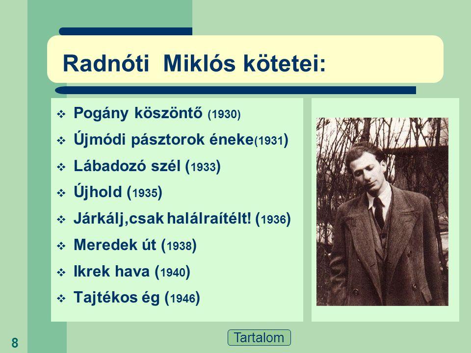 Radnóti Miklós kötetei: