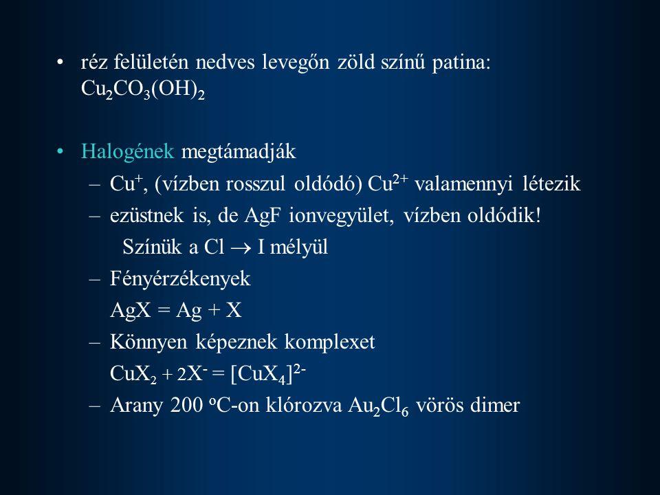 réz felületén nedves levegőn zöld színű patina: Cu2CO3(OH)2