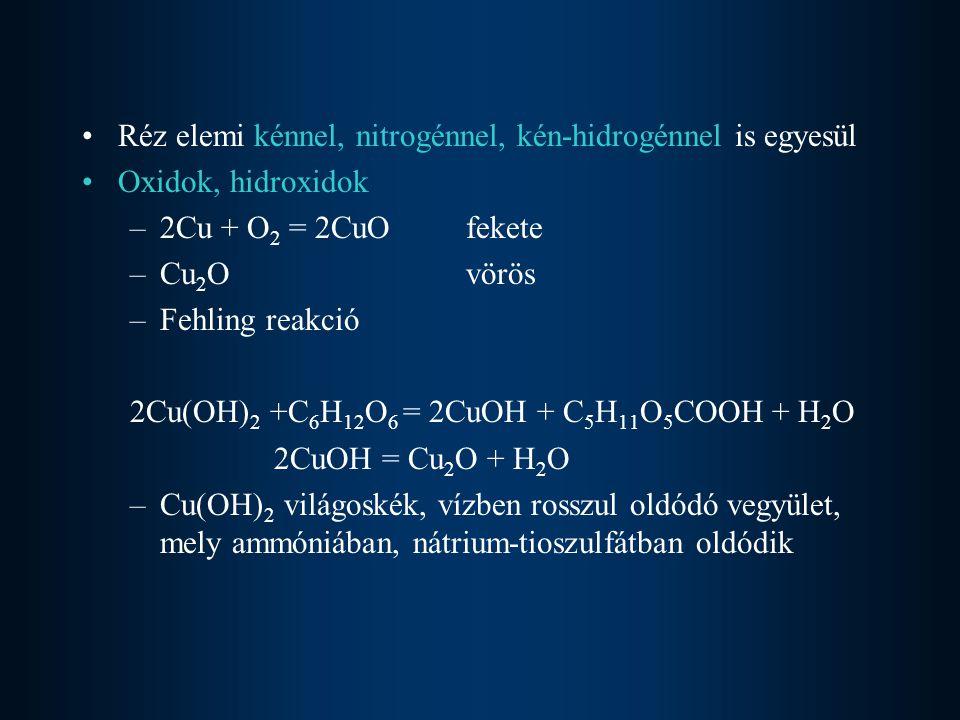 Réz elemi kénnel, nitrogénnel, kén-hidrogénnel is egyesül
