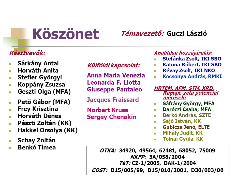 Köszönet Témavezető: Guczi László Résztvevők: Sárkány Antal
