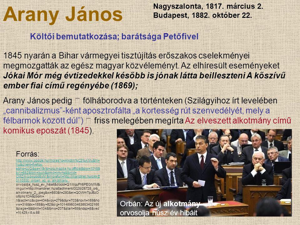 Arany János Költői bemutatkozása; barátsága Petőfivel