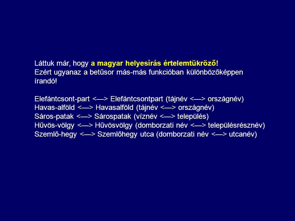Láttuk már, hogy a magyar helyesírás értelemtükröző!