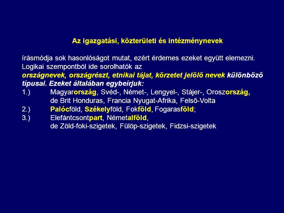 Az igazgatási, közterületi és intézménynevek