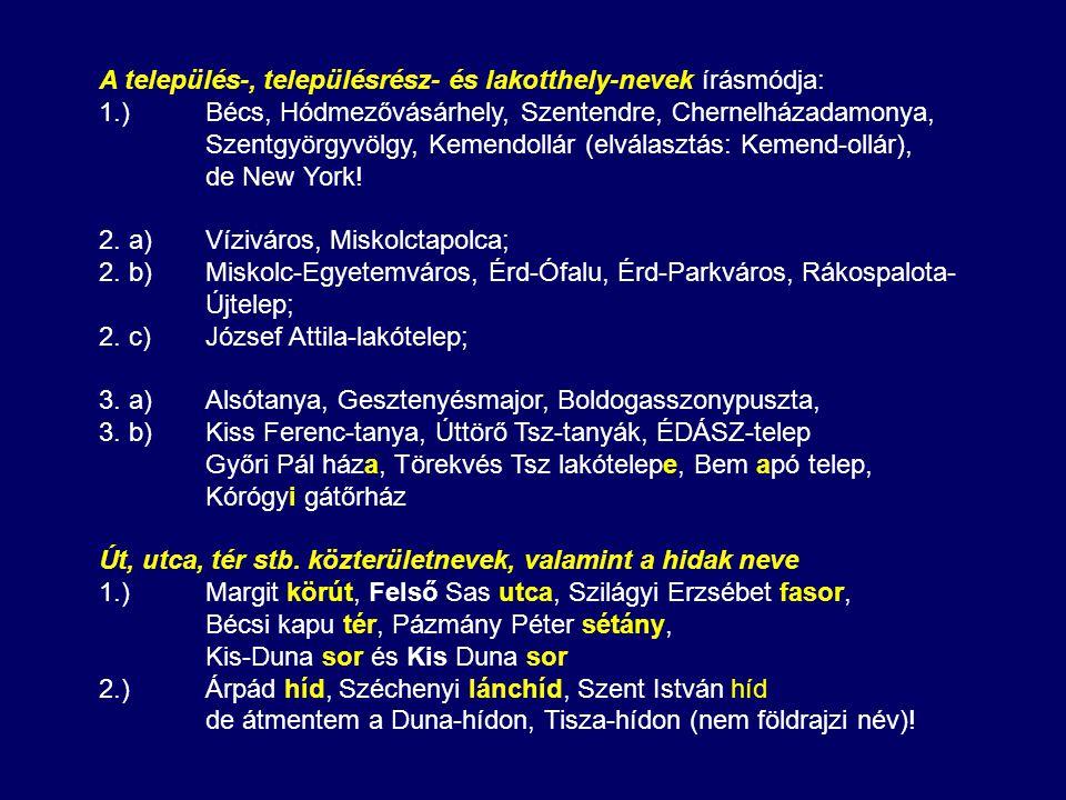 A település-, településrész- és lakotthely-nevek írásmódja:
