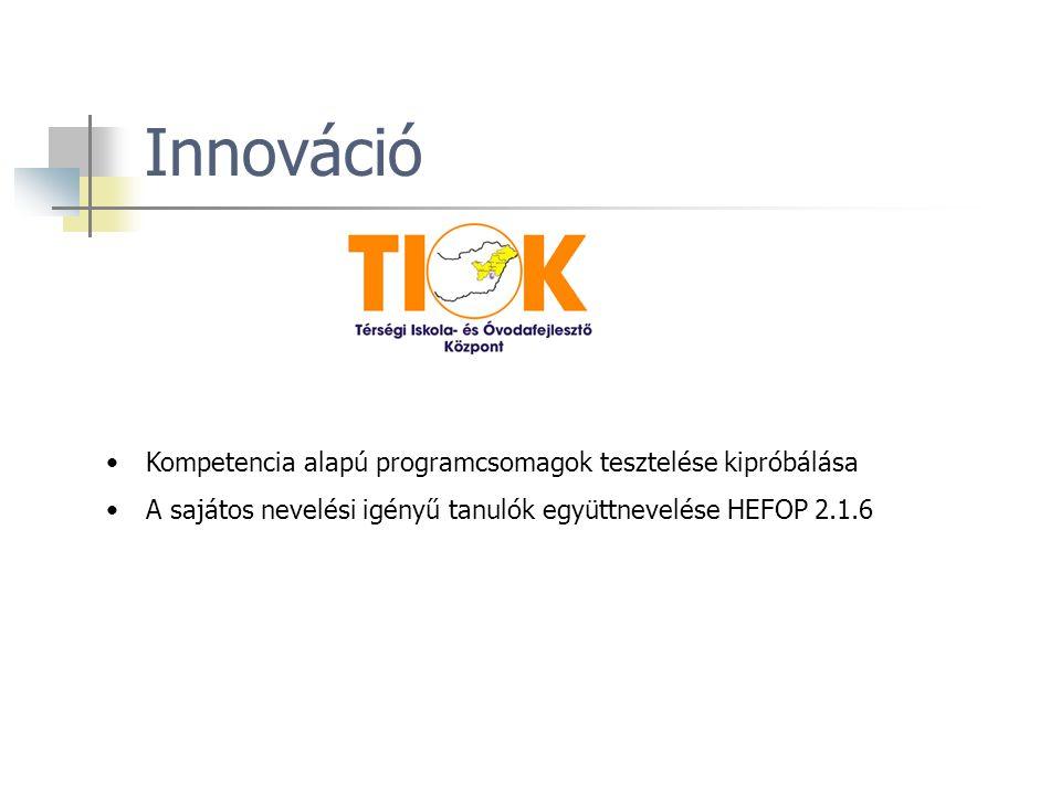 Innováció Kompetencia alapú programcsomagok tesztelése kipróbálása