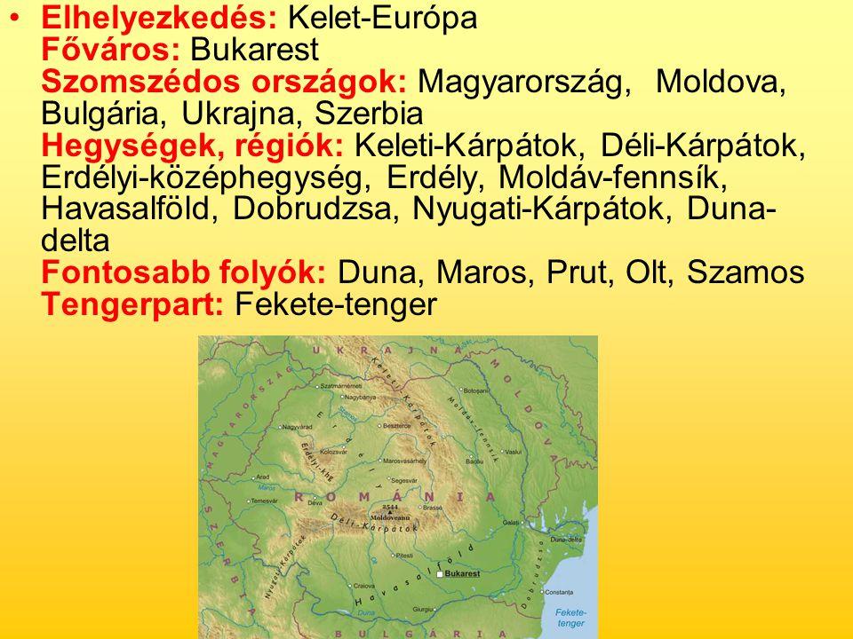 Elhelyezkedés: Kelet-Európa Főváros: Bukarest Szomszédos országok: Magyarország, Moldova, Bulgária, Ukrajna, Szerbia Hegységek, régiók: Keleti-Kárpátok, Déli-Kárpátok, Erdélyi-középhegység, Erdély, Moldáv-fennsík, Havasalföld, Dobrudzsa, Nyugati-Kárpátok, Duna-delta Fontosabb folyók: Duna, Maros, Prut, Olt, Szamos Tengerpart: Fekete-tenger