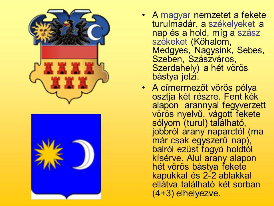 A magyar nemzetet a fekete turulmadár, a székelyeket a nap és a hold, míg a szász székeket (Kőhalom, Medgyes, Nagysink, Sebes, Szeben, Szászváros, Szerdahely) a hét vörös bástya jelzi.