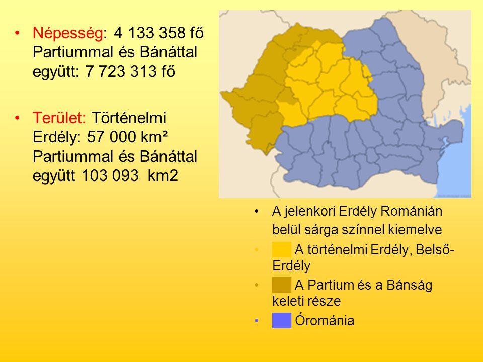Népesség: 4 133 358 fő Partiummal és Bánáttal együtt: 7 723 313 fő