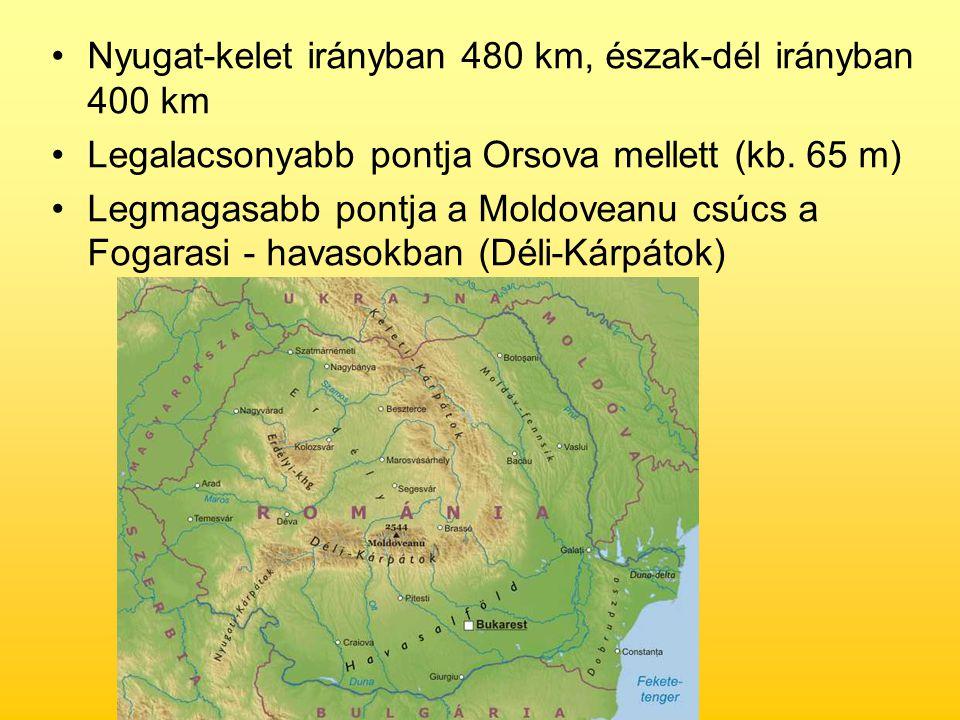 Nyugat-kelet irányban 480 km, észak-dél irányban 400 km