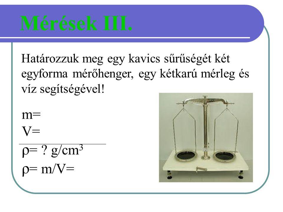 Mérések III. ρ= g/cm3 ρ= m/V= m= V=