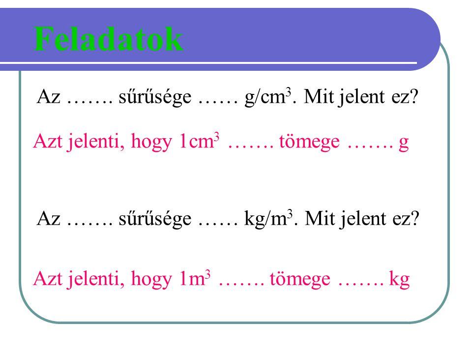 Feladatok Az ……. sűrűsége …… g/cm3. Mit jelent ez