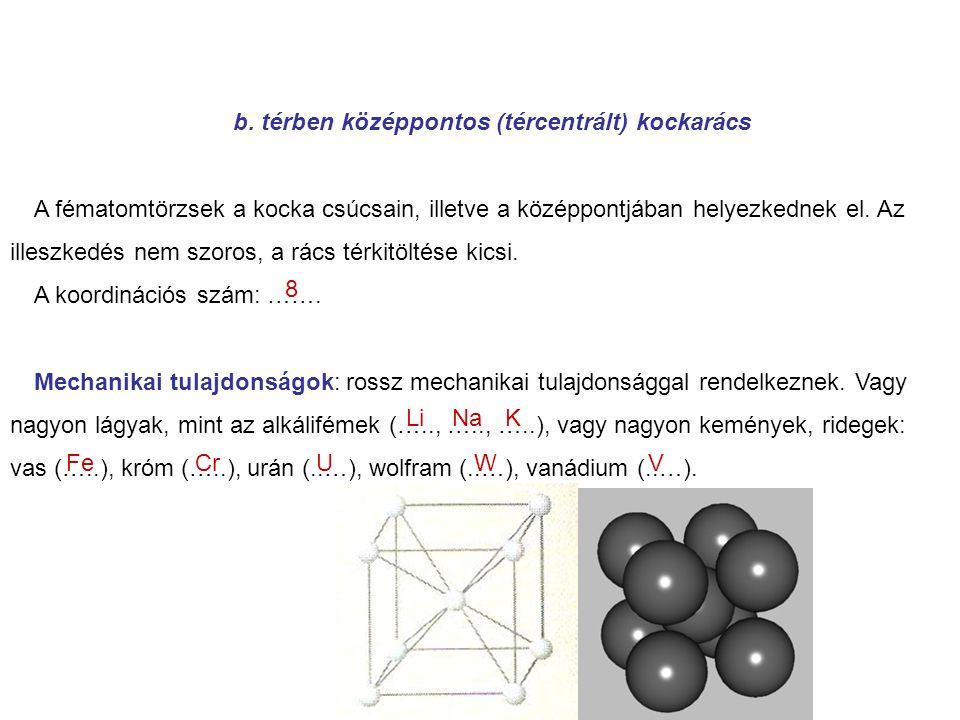 b. térben középpontos (tércentrált) kockarács