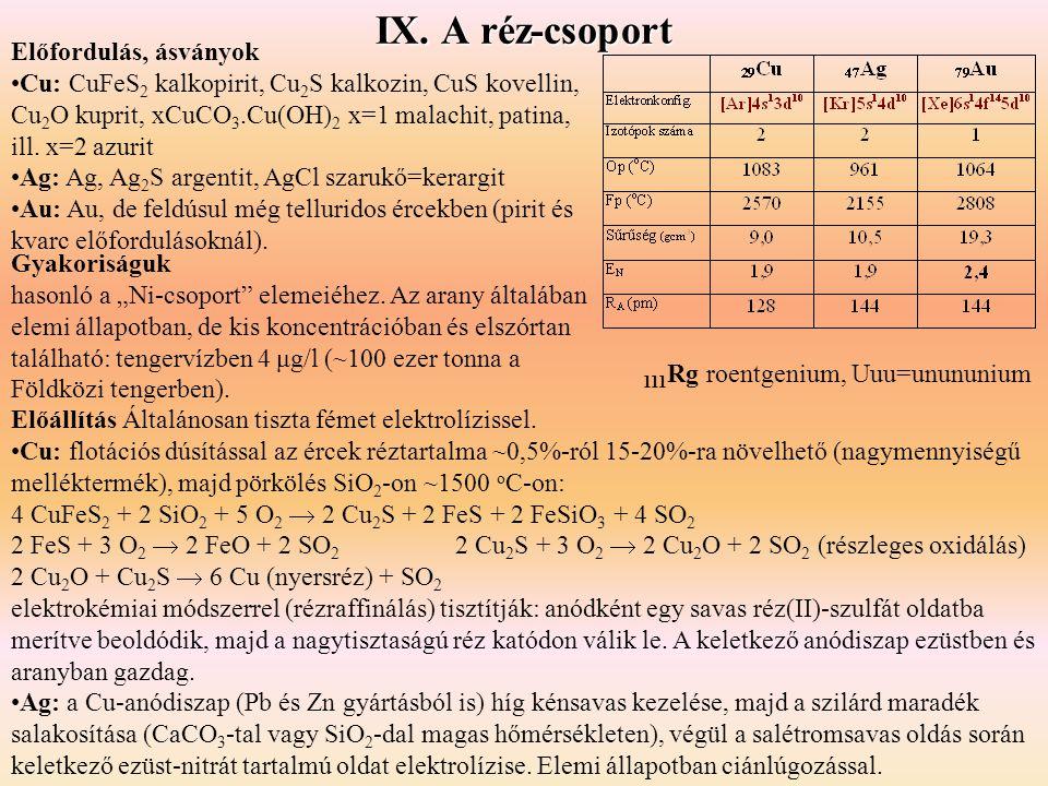 IX. A réz-csoport Előfordulás, ásványok