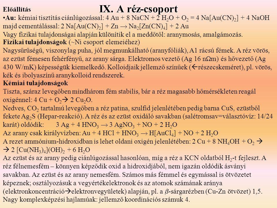 IX. A réz-csoport Előállítás