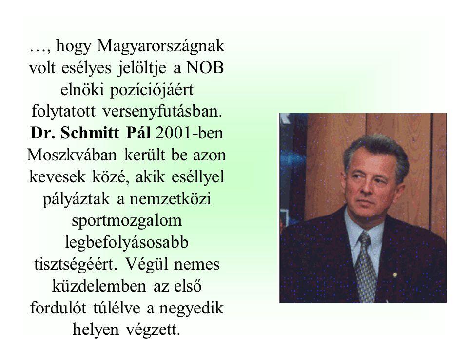 …, hogy Magyarországnak volt esélyes jelöltje a NOB elnöki pozíciójáért folytatott versenyfutásban.