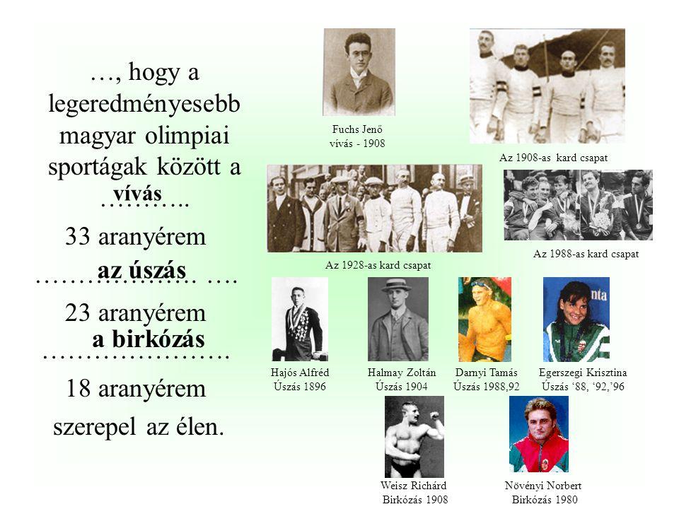 …, hogy a legeredményesebb magyar olimpiai sportágak között a ………..