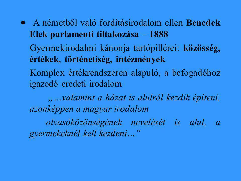 · A németből való fordításirodalom ellen Benedek Elek parlamenti tiltakozása – 1888