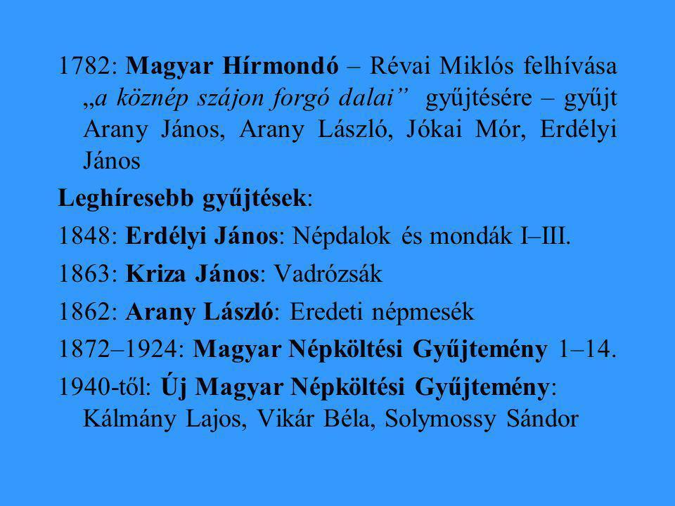 """1782: Magyar Hírmondó – Révai Miklós felhívása """"a köznép szájon forgó dalai gyűjtésére – gyűjt Arany János, Arany László, Jókai Mór, Erdélyi János"""
