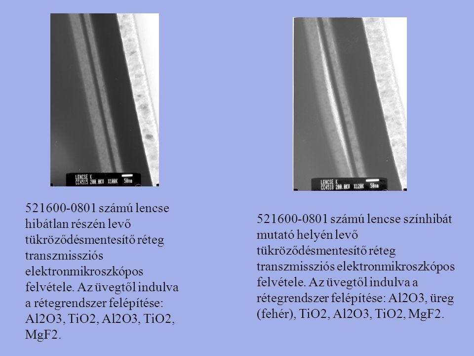 521600-0801 számú lencse hibátlan részén levő tükröződésmentesítő réteg transzmissziós elektronmikroszkópos felvétele. Az üvegtől indulva a rétegrendszer felépítése: Al2O3, TiO2, Al2O3, TiO2, MgF2.