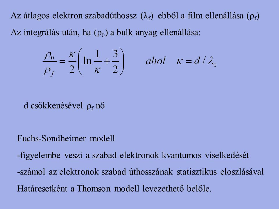 Az átlagos elektron szabadúthossz (λf) ebből a film ellenállása (ρf)