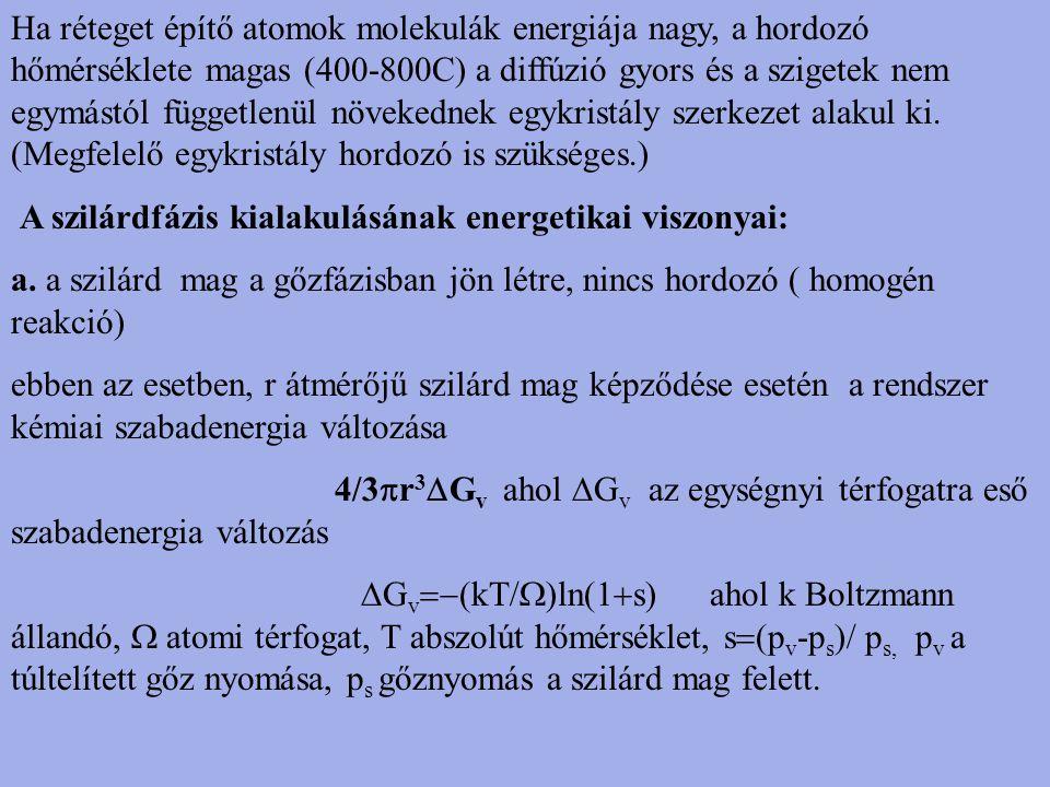Ha réteget építő atomok molekulák energiája nagy, a hordozó hőmérséklete magas (400-800C) a diffúzió gyors és a szigetek nem egymástól függetlenül növekednek egykristály szerkezet alakul ki. (Megfelelő egykristály hordozó is szükséges.)