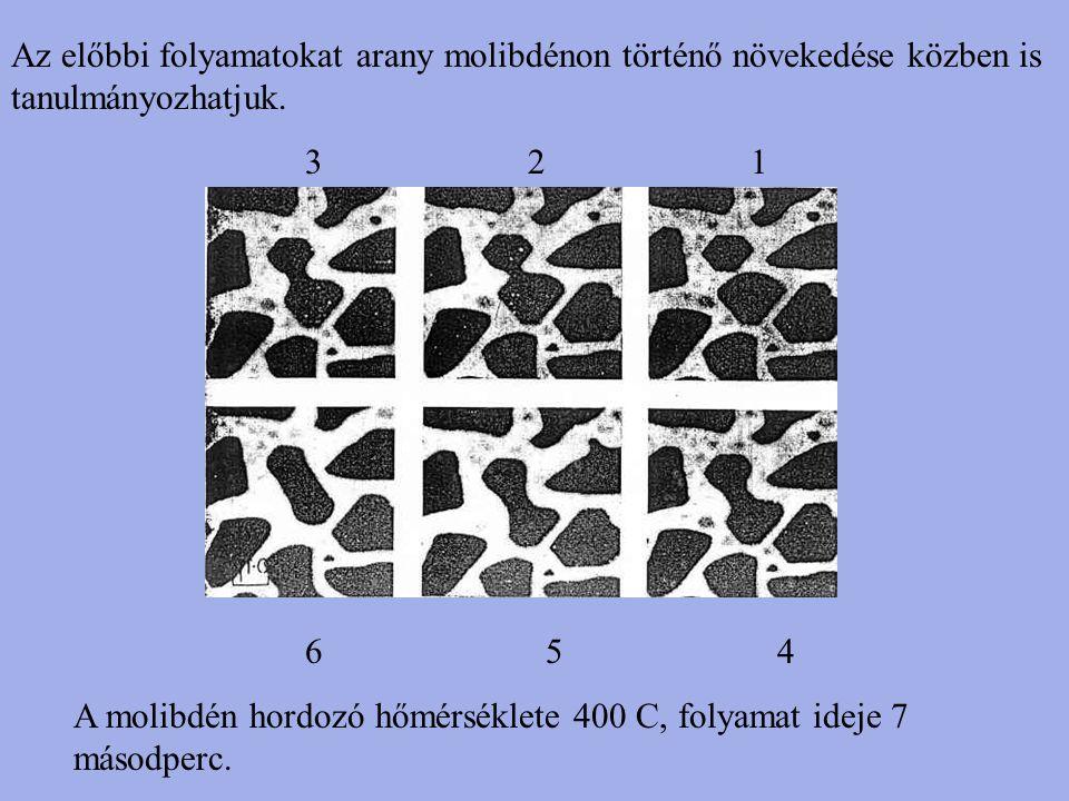 Az előbbi folyamatokat arany molibdénon történő növekedése közben is tanulmányozhatjuk.
