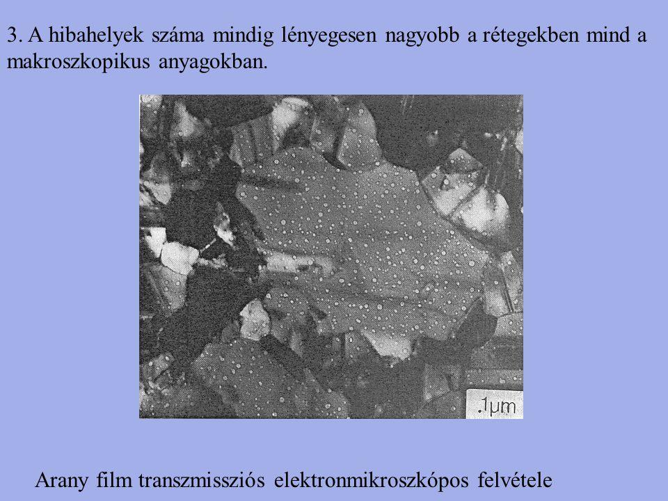 3. A hibahelyek száma mindig lényegesen nagyobb a rétegekben mind a makroszkopikus anyagokban.