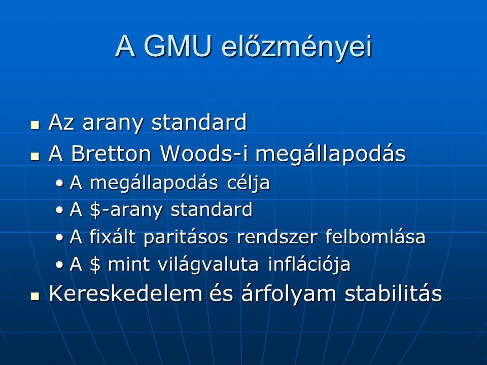 A GMU előzményei Az arany standard A Bretton Woods-i megállapodás